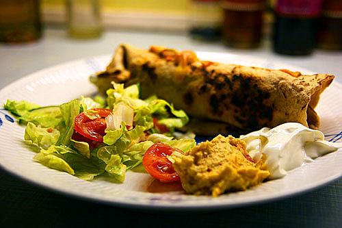 Fajita med Fladbrød og Rød Guacamole