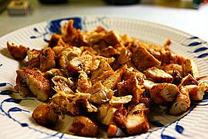 Fajita af kylling, skåret ud